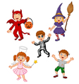 Cartoon kids wearing Halloween costume collection vector image vector image