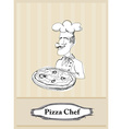chef with pizza card vector image vector image