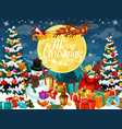 christmas design with santa snowman and deers vector image vector image