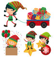 christmas elf and cart full of presents vector image