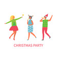 christmas party people dancing together drinking vector image vector image