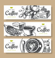 coffee beans roasted coffee background ink hand vector image