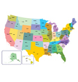 Colorful USA map with states and capital citie vector image