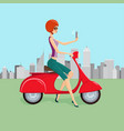 cute woman on red scooter making selfie vector image vector image