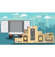 delivery service delivery truck over cityscape vector image vector image