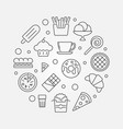 fast food round - unhealthy vector image