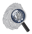 finger print with magnifying glass vector image