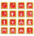 fireman tools icons set red vector image vector image