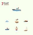 flat icon boat set of tanker vessel transport vector image vector image