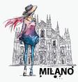 Girl on a Milano Duomo background vector image