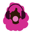 girl with pink afro hair headphones and music vector image