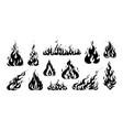 hand drawn flame vintage sketch of devils fire vector image vector image