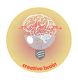 image of a creative brain with a lamp generating i vector image