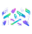 isometric icons shield cloud speech bubbles vector image