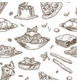 italian cuisine sketch seamless pattern vector image