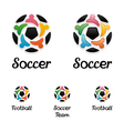 Logo with a soccer ball and united people icons vector image vector image