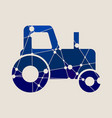 low poly style of a farmer tractor vector image vector image