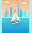 modern yacht marine nautical personal ship icon vector image vector image