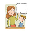 mother or the teacher shows to the boy on the vector image vector image