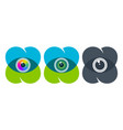overlapping heart icons with eyeballs vector image vector image