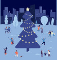 people at christmas tree crowd celebrate vector image