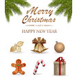 realistic icons set for christmas and new year vector image vector image