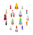 rocket icons set in isometric 3d style vector image