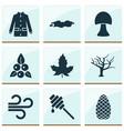 seasonal icons set with mushroom wind pine cone vector image vector image