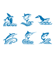 set of marine life on waves vector image