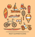 set of summer vacation or recreation icons vector image vector image