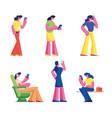 set women with smartphone gadget addiction vector image vector image