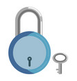 simple metal lock with blue corpus and small key vector image vector image