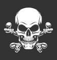 skull and crossed bones engraving vector image vector image