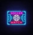 soccer match logo neon design template vector image vector image