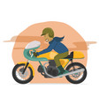 speeding classic motorcycle rider vector image