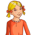 Teenager cartoon girl with blond hair and hair sty