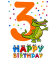 third birthday cartoon card vector image vector image