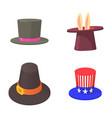 top hat icon set cartoon style vector image vector image
