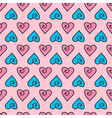 Valentines Day doodle hearts seamless pattern vector image vector image