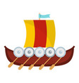 viking boat icon flat style vector image
