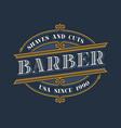 vintage barbershop logo design vector image vector image
