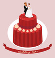 wedding cake with newlyweds figures vector image