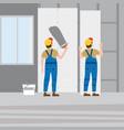 workers put plaster installing gypsum vector image