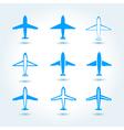 Set of airplane symbol vector image
