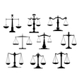 Black law scale icons vector image