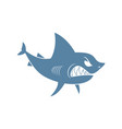 shark isolated marine predator on white background vector image