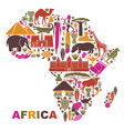 traditional symbols of africa in the form of a map vector image