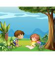 a boy with a girl reading in garden vector image