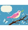 Background with blooming tree branch and bird vector image vector image