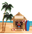 beach summer cartoon vector image